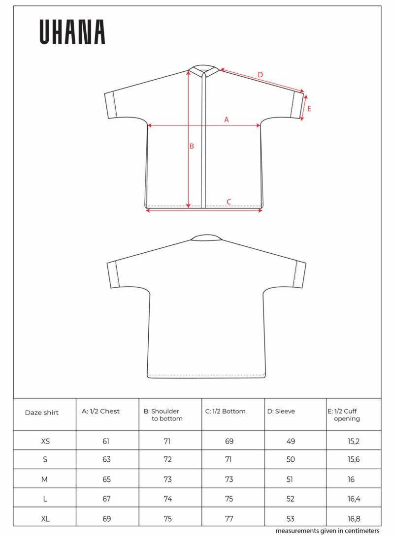 Uhana - Daze Collar Shirt Size Chart