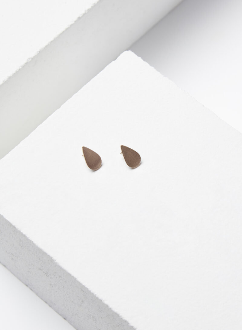 Uhana - Petite Drop Stud Earrings, Bronze