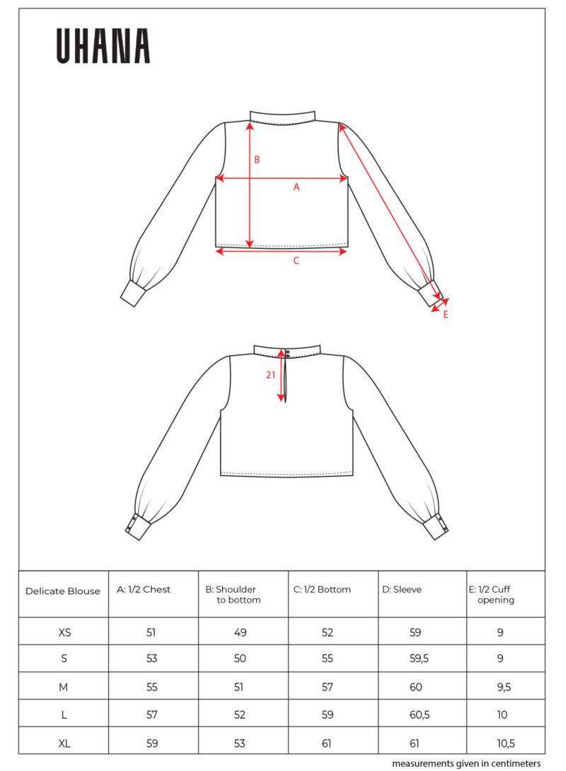 Uhana - Delicate Blouse Size Chart