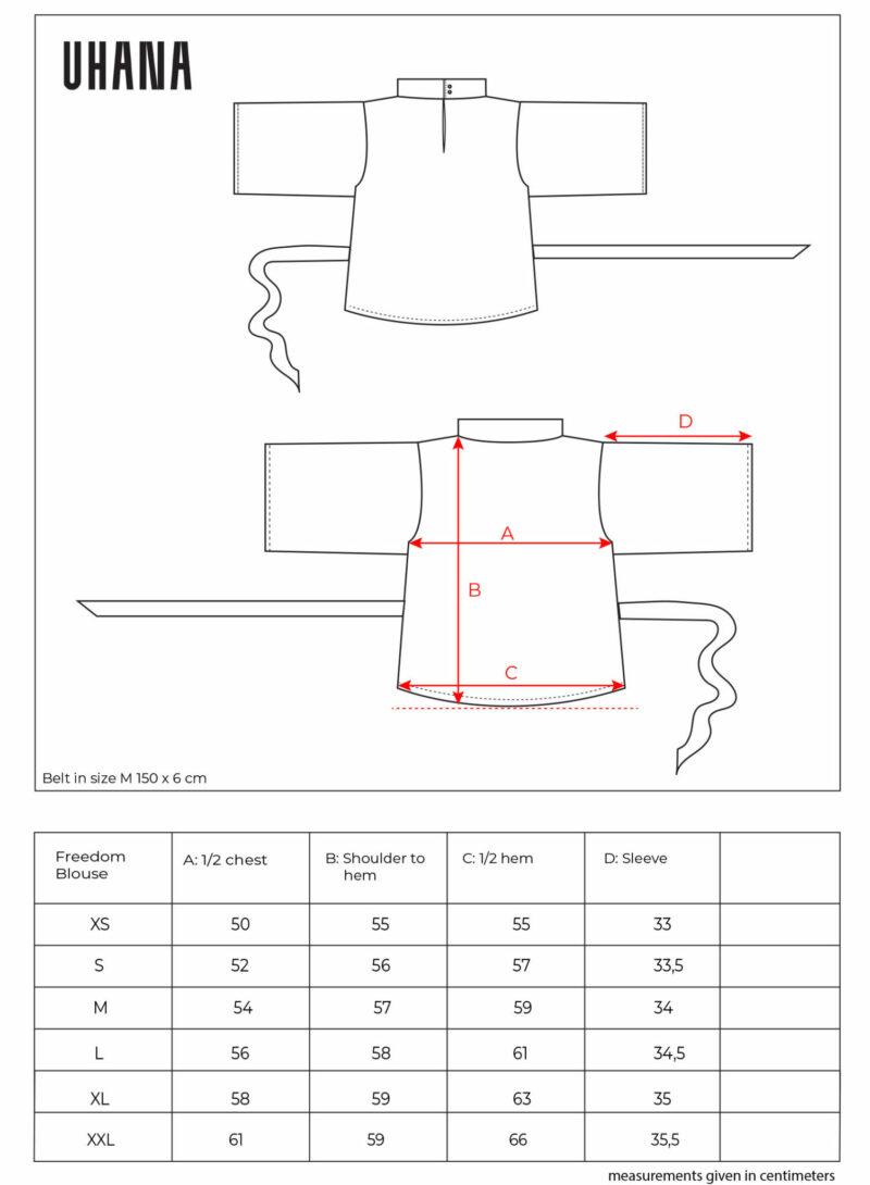 Uhana - Freedom Blouse Size Chart