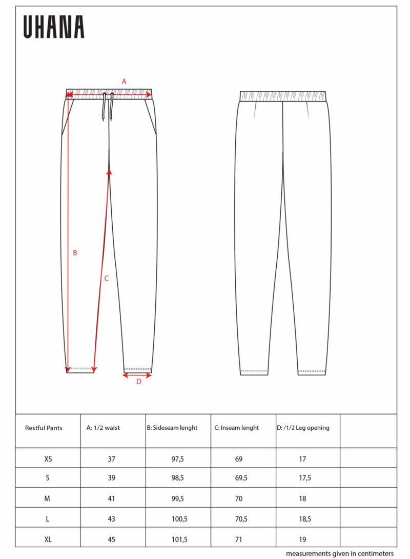 Uhana - Restful Pants Size Chart