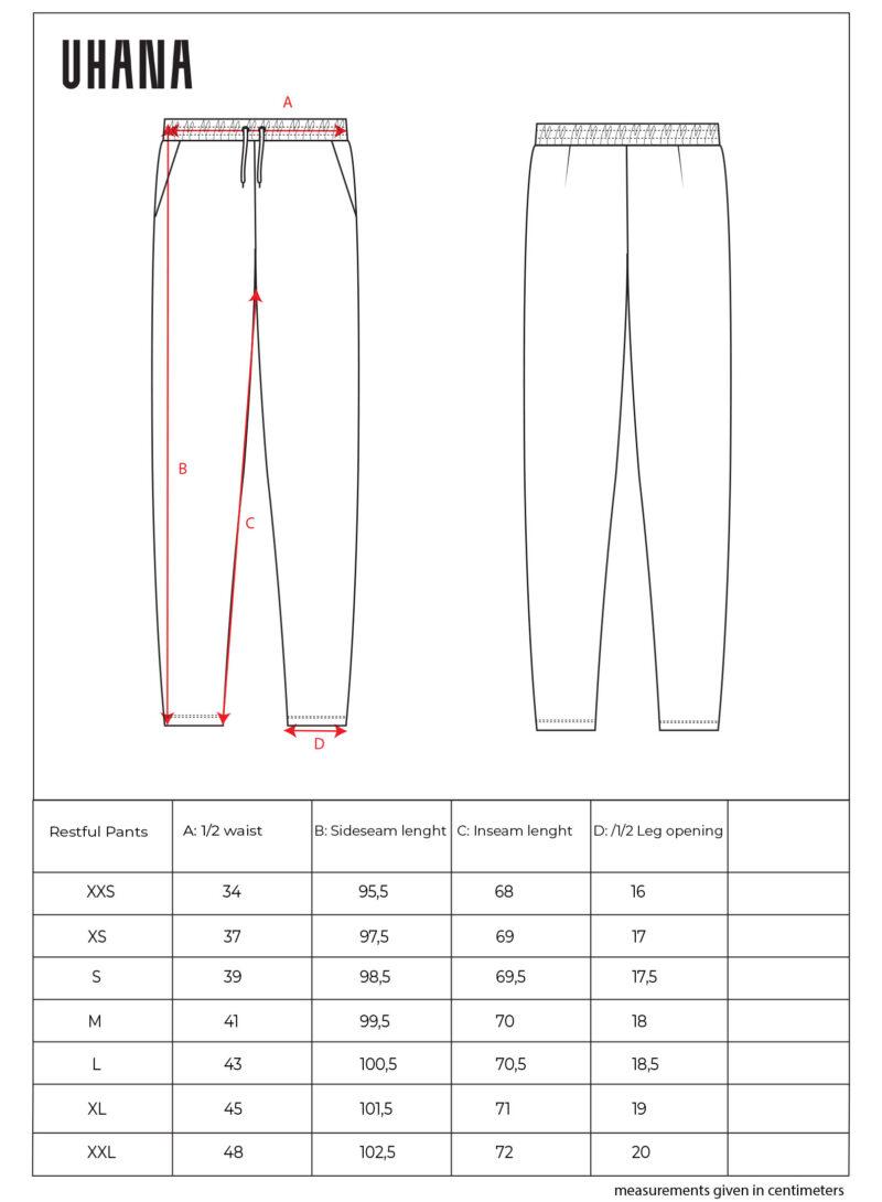 Uhana - Restful College Pants Size Chart