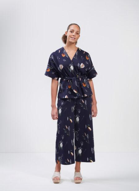 Uhana - Treasure Kimono & Precious Culottes, Summer Wind Dark Blue