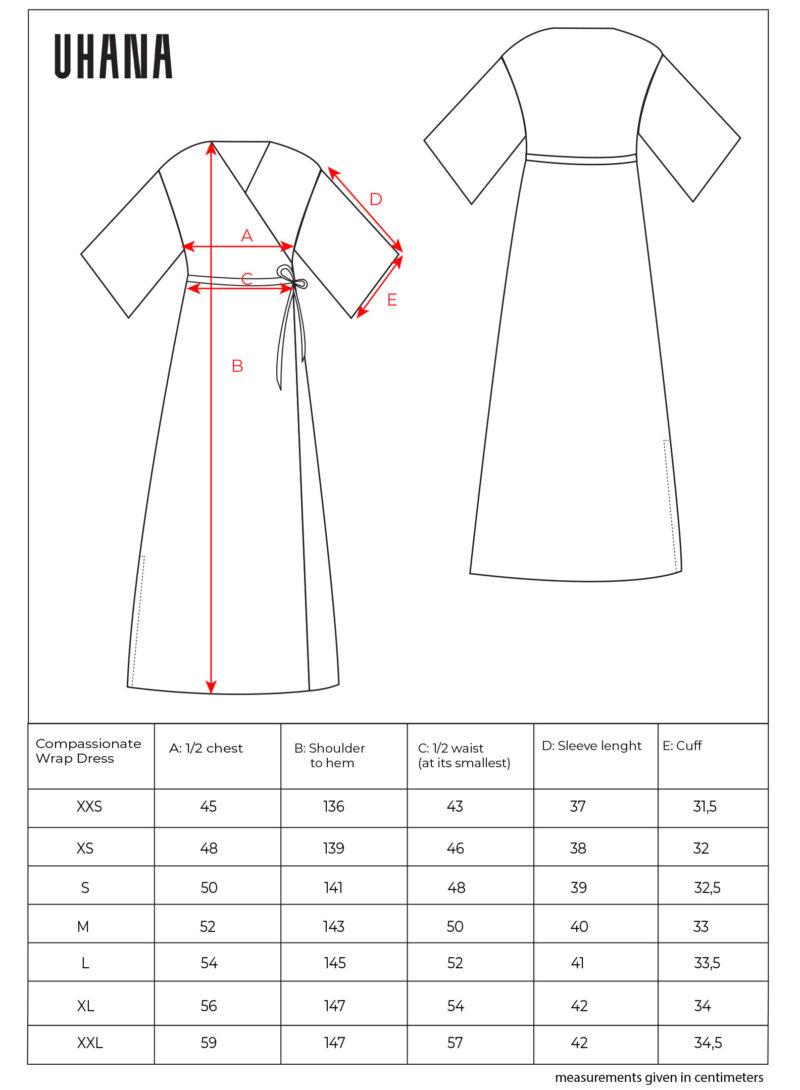 Uhana - Compassionate Wrap Dress Size Chart