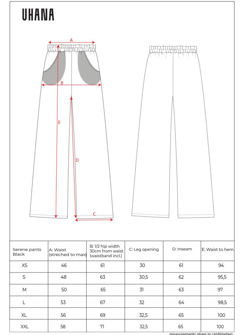 Uhana - Serene Pants, Black - Size Chart