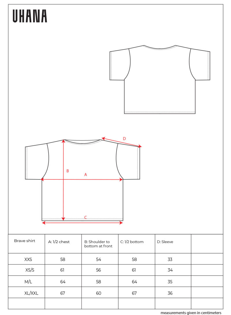 Uhana - Braver Shirt Size Chart