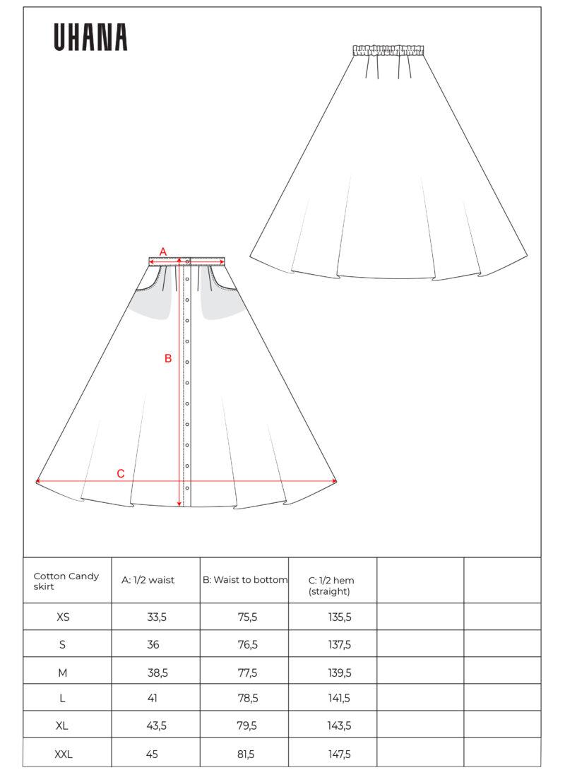 Uhana - Cotton Candy Skirt Size Chart
