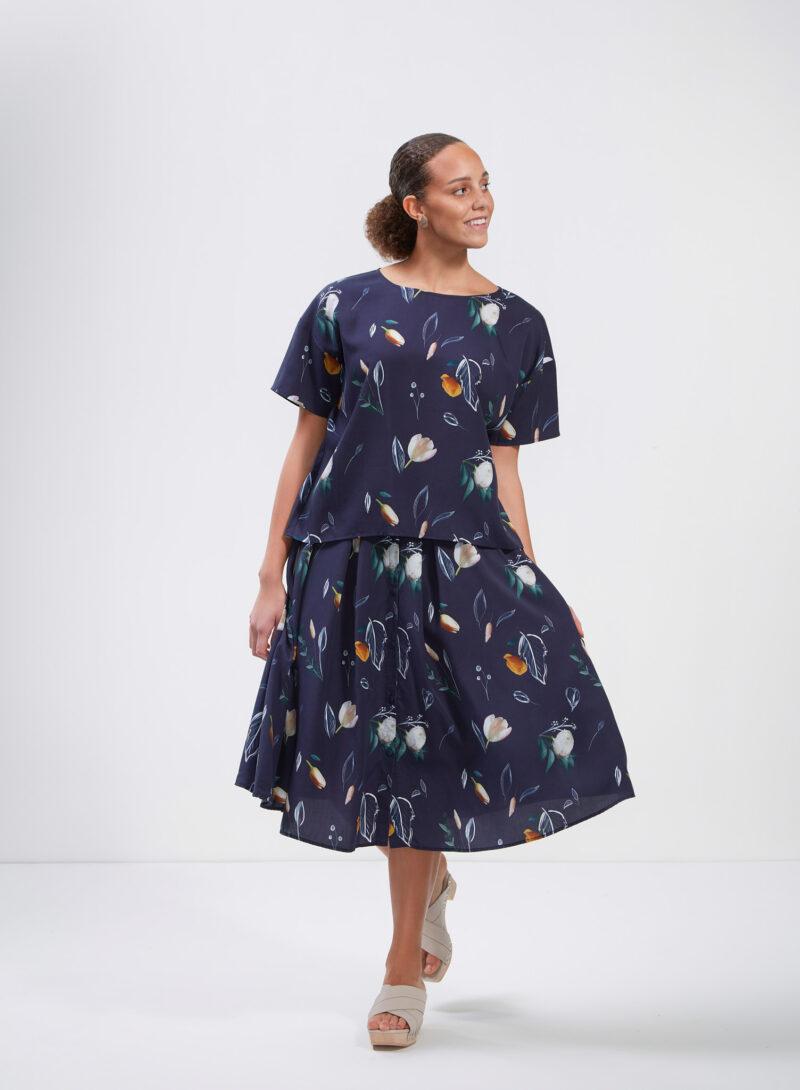 Uhana - Braver Shirt & Cotton Candy Skirt Summer Wind Dark Blue