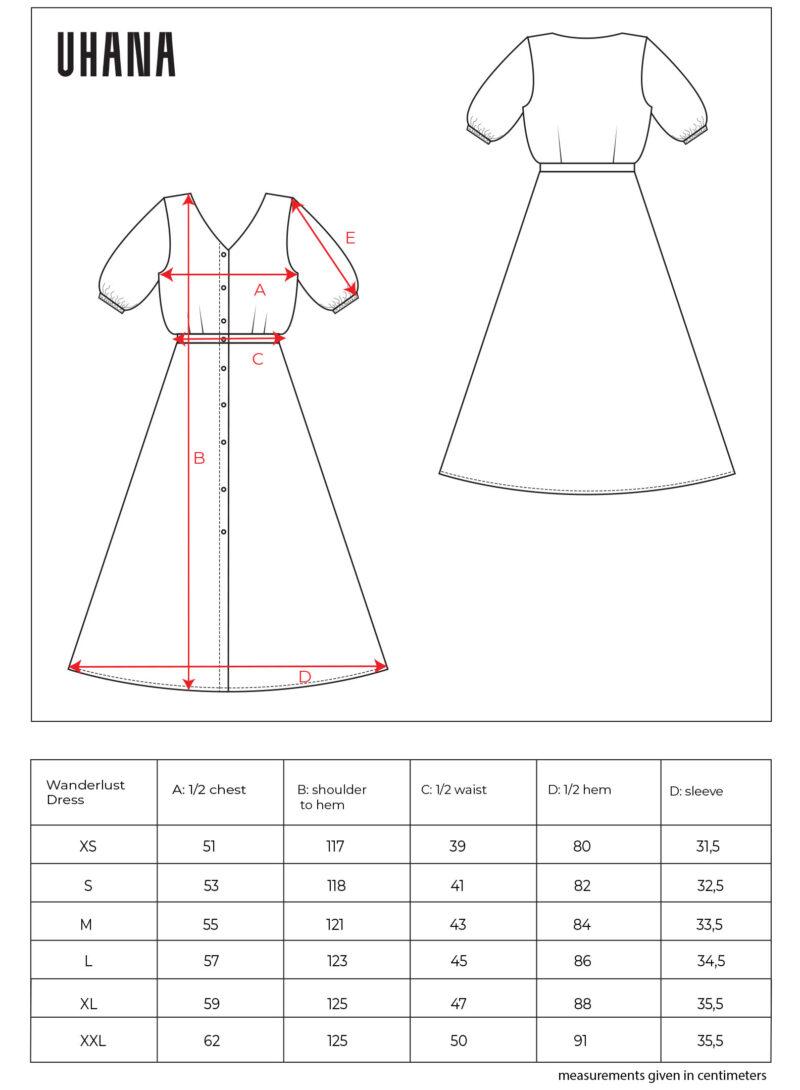 Uhana - Wanderlust Dress Size Chart