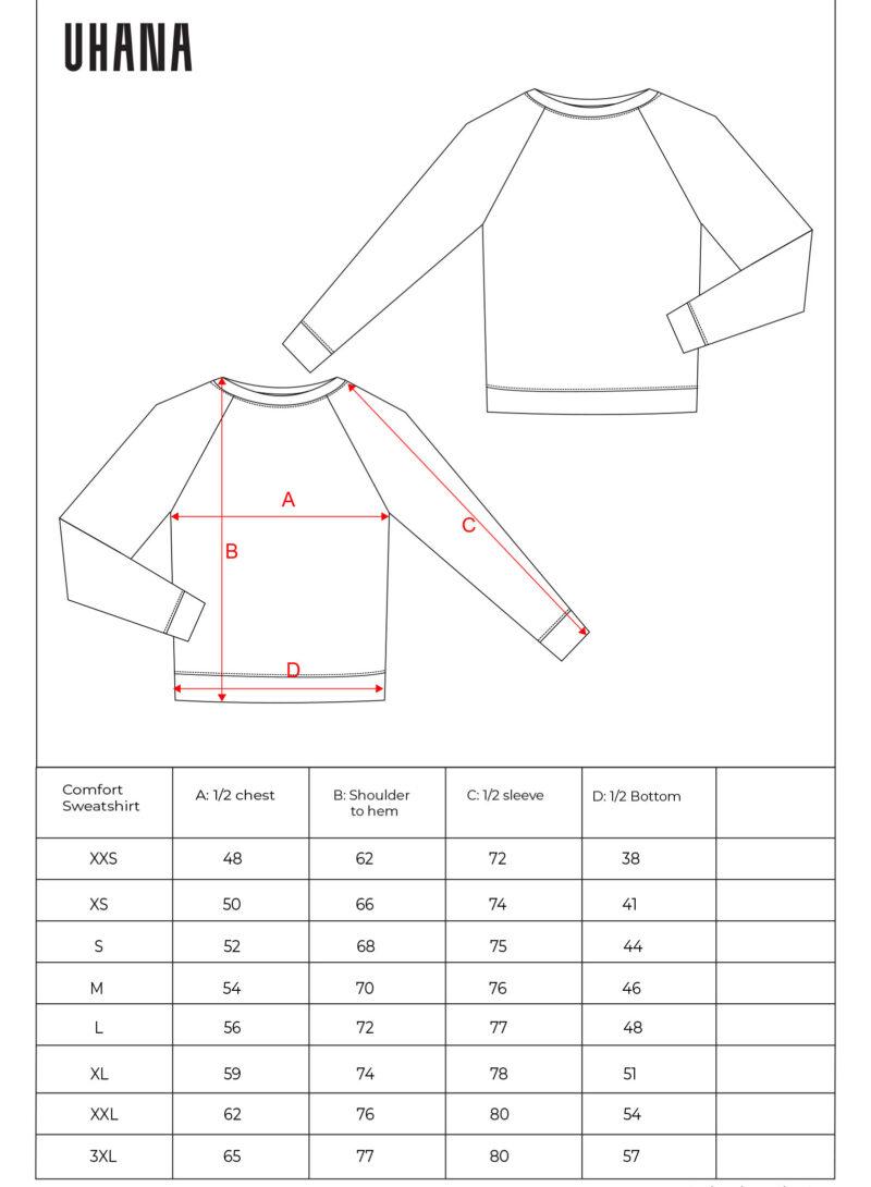 Uhana - Comfort Sweatshirt Size Chart