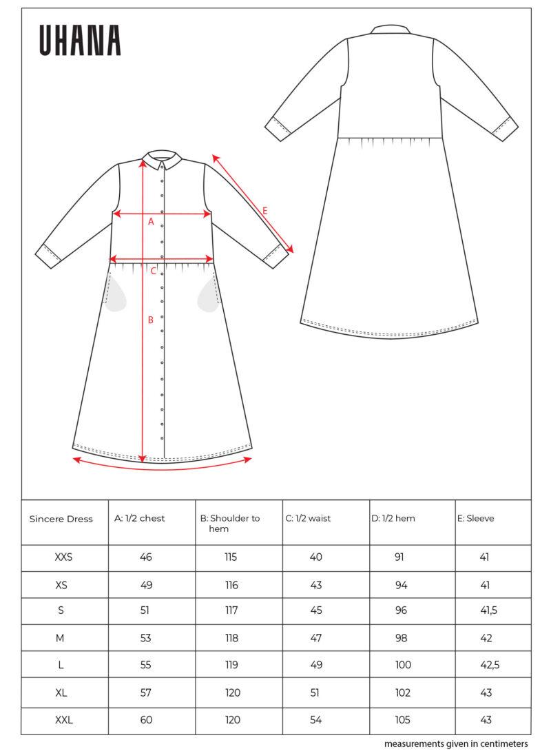 Uhana - Sincere Dress, Size Chart