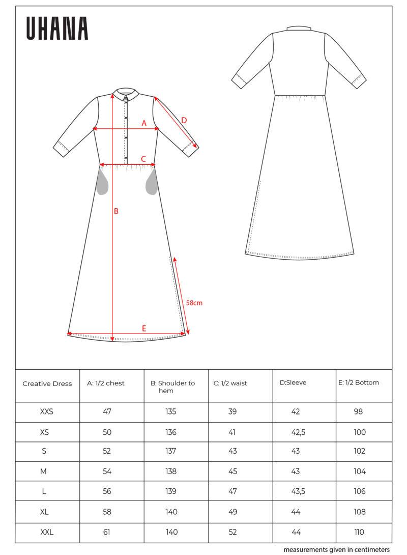 Uhana - Creative Dress, Size Chart