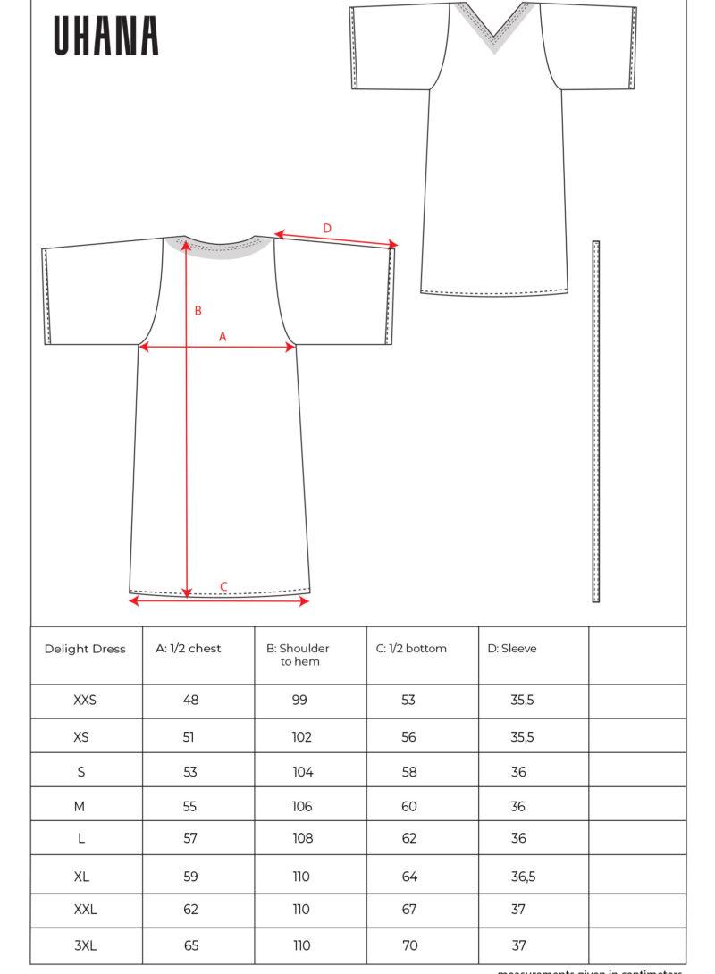 Uhana - Delight Dress, Size Chart
