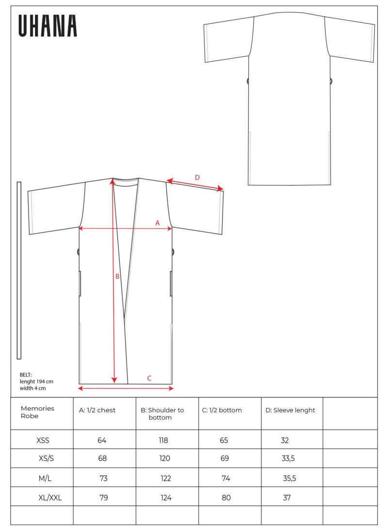 Uhana - Memories Robe, Size Chart