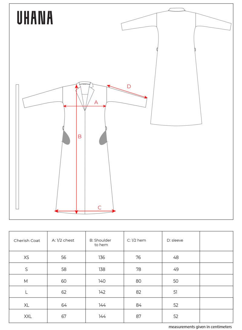 Uhana - Cherish Coat, Size Chart