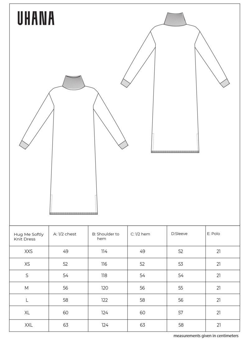 Uhana - Hug Me Softly Knit Dress, Size Chart